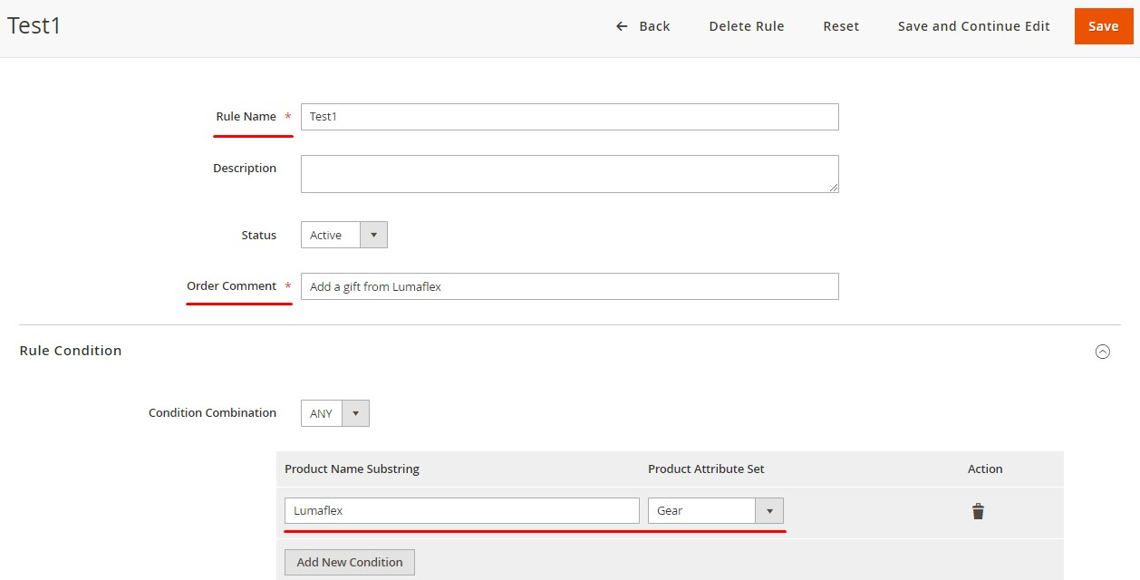 add order comments configuration