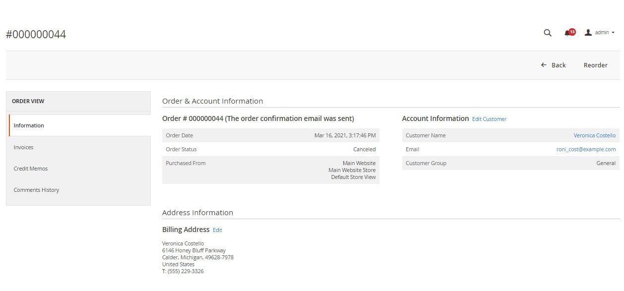 order cancel information