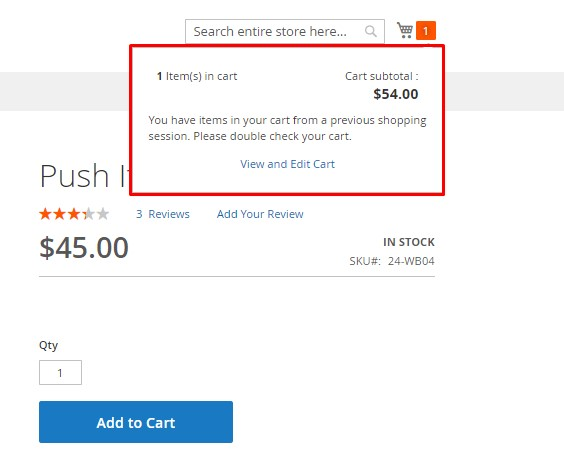 Cart Notification on the Front End